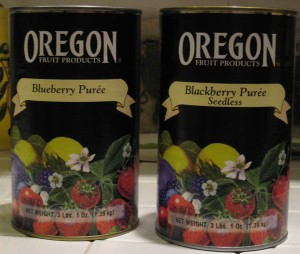 Cans of Oregon fruit puree